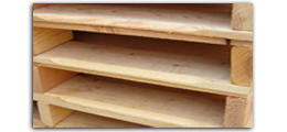 chamfered wood boards, pallet jacks